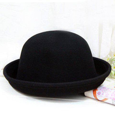 Romantic Pure Color Dome Hat For Women - BLACK