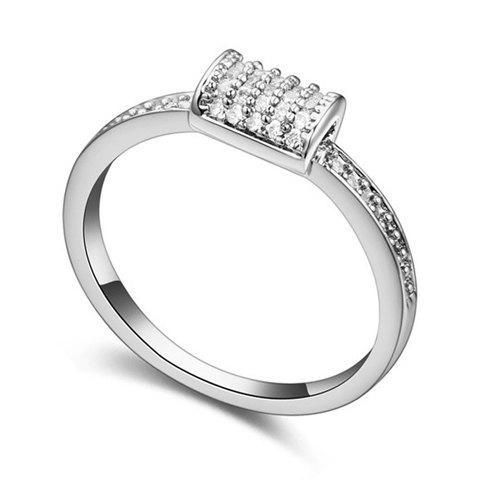 Trendy Solid Color Zircon Inlaid Women's Ring - WHITE GOLDEN ONE-SIZE