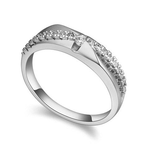 Romantic Zircon Inlaid Women's Ring - WHITE GOLDEN ONE-SIZE