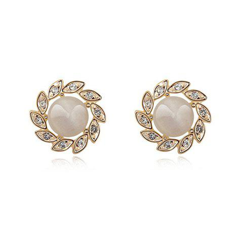 Pair of Chic Faux Opal Floral Shape Women's Earrings - WHITE