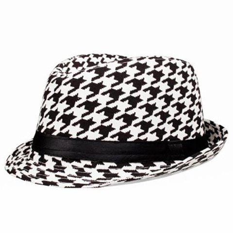 Classical Grid Ribbon Embellished Fedora Hat For Women - WHITE/BLACK