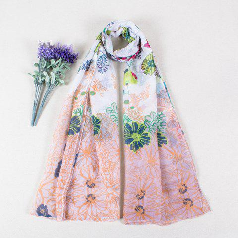 Rural Style Various Flowers Print Color Block Women's Voile Scarf