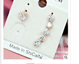 Pair of Heart Shape Rhinestone Inlaid Earrings - GOLDEN