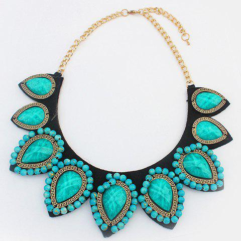 Chic Punk Style Water Drop Shape Women's Necklace - GREEN