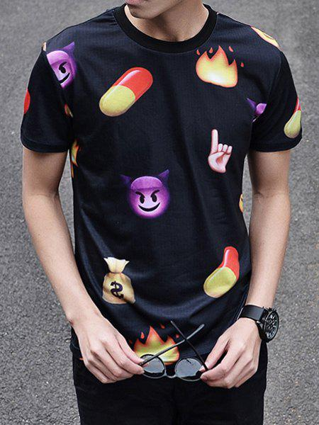 Fashion 3D Cartoon Print Round Neck Short Sleeve Slimming Men's Polyester T-Shirt