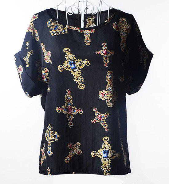Stylish Scoop Collar Short Sleeve Cross Print Chiffon Women's Blouse