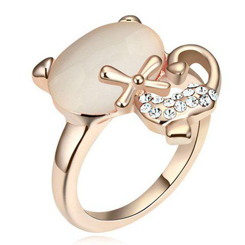 Sweet Faux Opal Inlaid Kitten Shape Women's Ring - WHITE ONE-SIZE