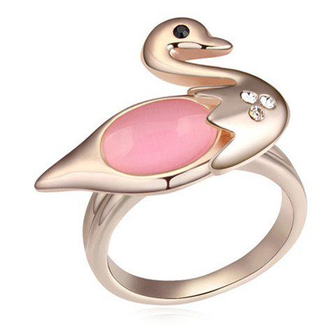 Chic Faux Opal Inlaid Swan Shape Women's Ring - LIGHT PINK ONE-SIZE
