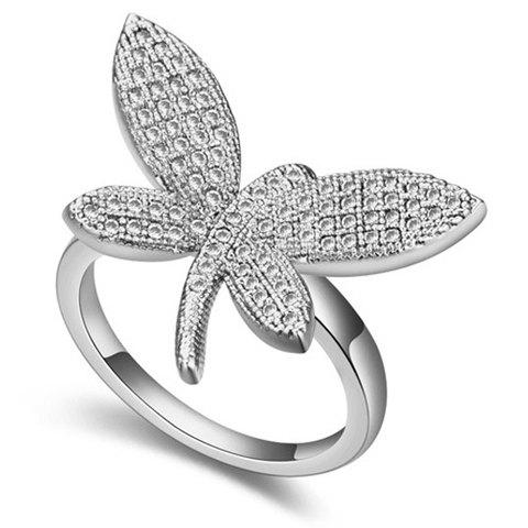 Sweet Zircon Inlaid Dragonfly Shape Women's Ring - WHITE GOLDEN ONE-SIZE