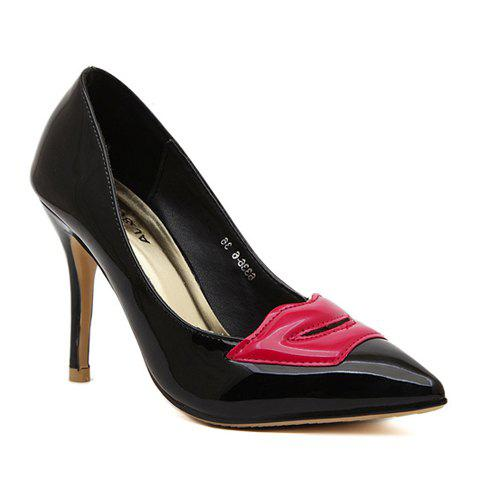 Trendy Lip Pattern and Patent Leather Design Women's Pumps - BLACK 39