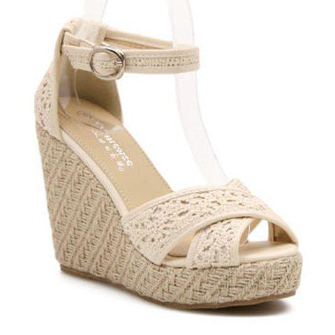 Gorgeous Peep Toe and Weaving Design Sandals For Women - APRICOT 36