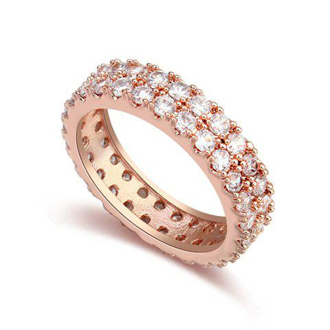 Gorgeous Double Row Rhinestone Ring For Women - ONE-SIZE ROSE GOLD