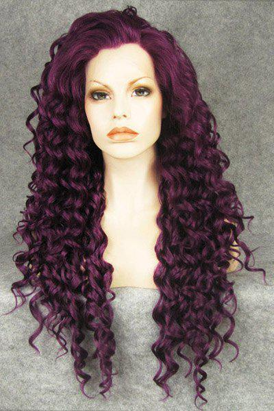 Charming Purple Long Jerry Curly Fluffy Heat Resistant Synthetic Women's Lace Front Wig -
