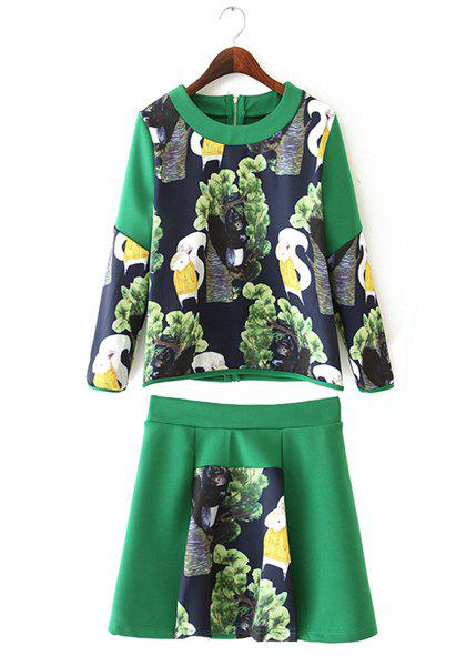 Refreshing Squirrel Print Scoop Neck 3/4 Sleeve Sweatshirt and Skirt Twinset For Women - S GREEN