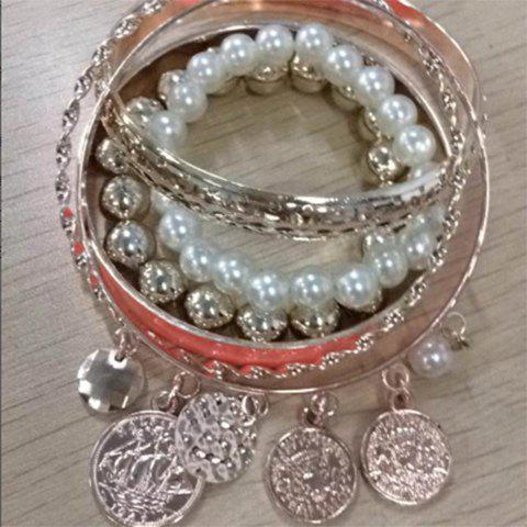 6PCS Of Chic Style Pearl and Coin Shape Pendants Design Openwork Bracelets - DEEP PINK