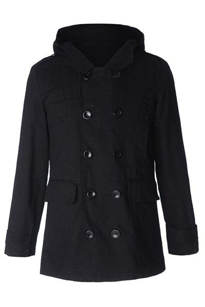 Fashion Large Hooded Slimming Solid Color Pocket Embellished Long Sleeves Men's Coat - BLACK XL
