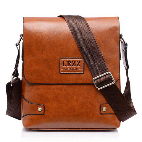 Faux Leather Messenger Bag - BROWN