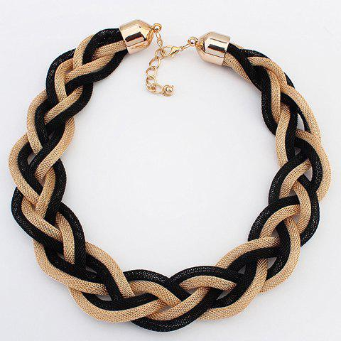 Punk Braided Link Necklace For Women - BLACK