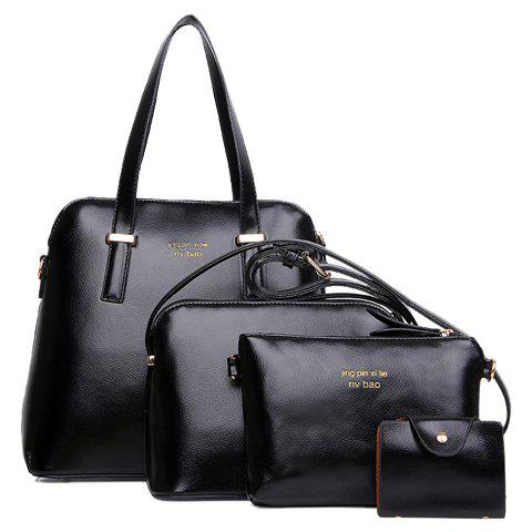 Simple Metallic and Solid Color Design PU Leather Tote Bag For Women - BLACK