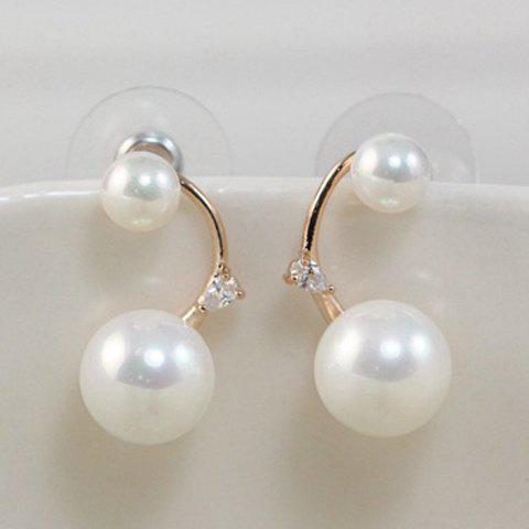 Pair of Style Faux Pearl Decorated Women's Earrings - SILVER
