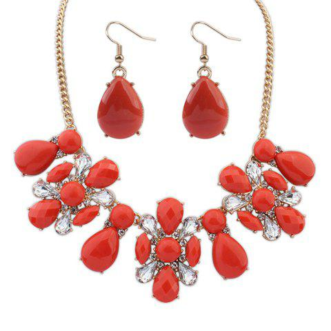 A Suit of Delicate Rhinestone Drop Necklace And Earrings For Women