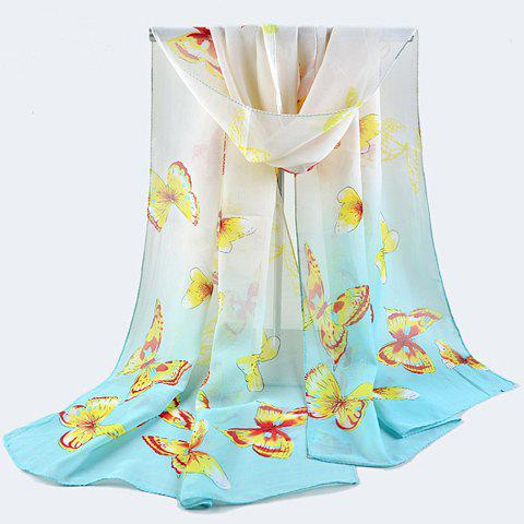 Charming Butterfly Print Gradient Color Gauzy Scarf For Women - RANDOM COLOR