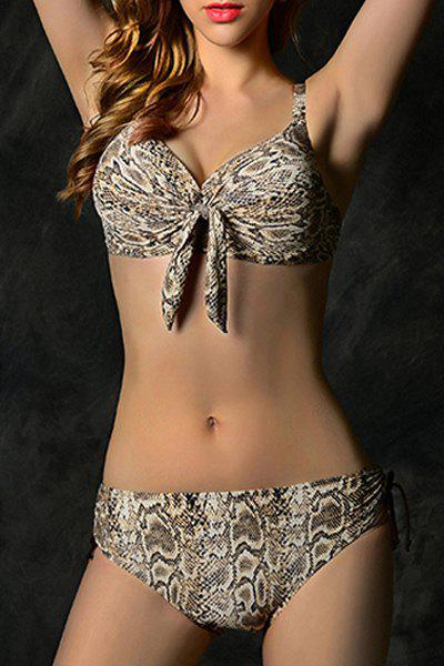 Stylish Spaghetti Strap Lace-Up Python Women's Bikini Set - COFFEE 2XL