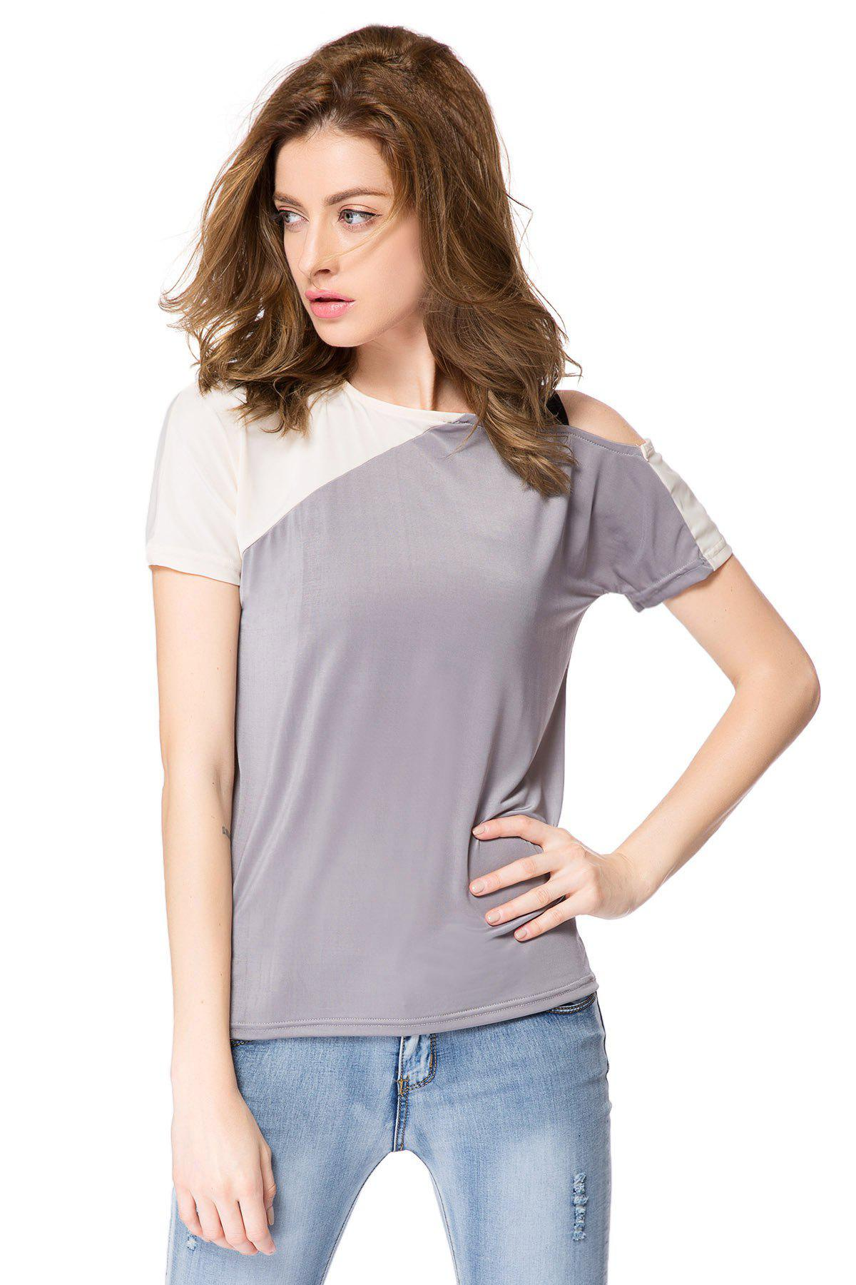 Stylish Jewel Neck Color Block Hollow Out Blouse For Women - AS THE PICTURE L