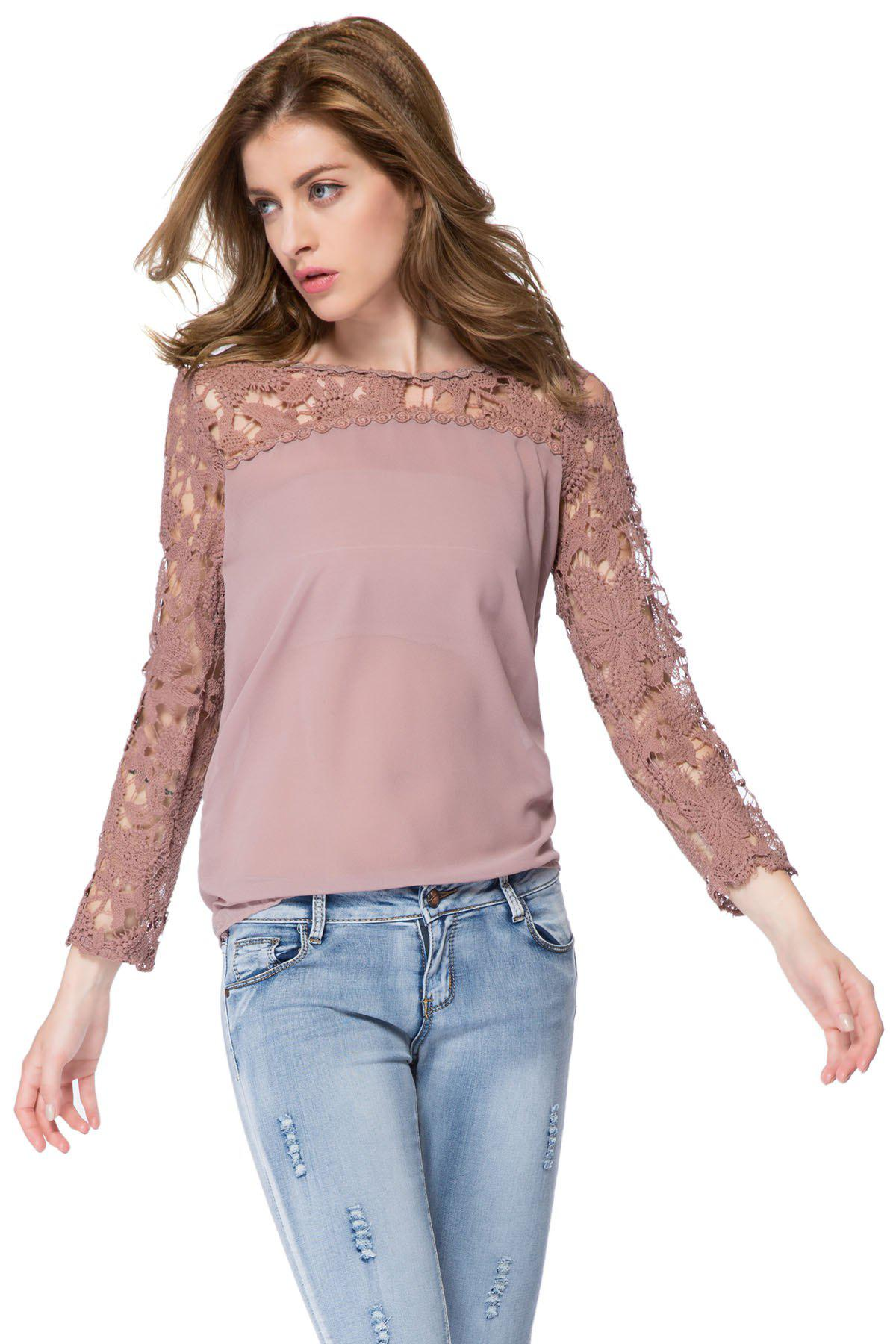 Trendy Long Sleeve Round Collar Spliced Hollow Out Design Blouse - AS THE PICTURE S