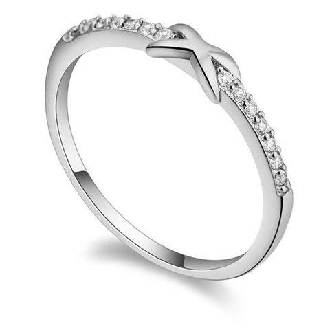 Chic Rhinestone Inlaid Knot Design Ring For Women - WHITE ONE-SIZE
