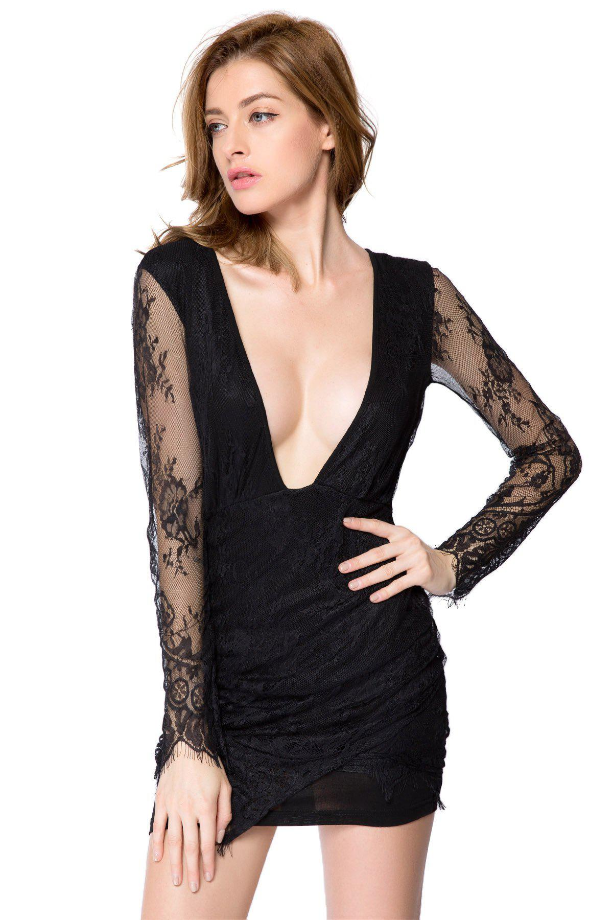 Sexy Style Long Sleeve Plunging Neck Solid Color Women's Lace Dress - BLACK S
