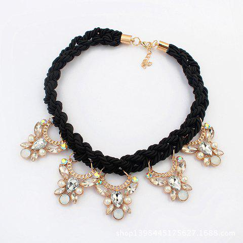 Fantastic Rhinestone Inlaid Butterfly Women's Necklace - BLACK