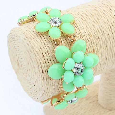 Sweet Candy Color Beads Flower Bracelet For Women - GREEN