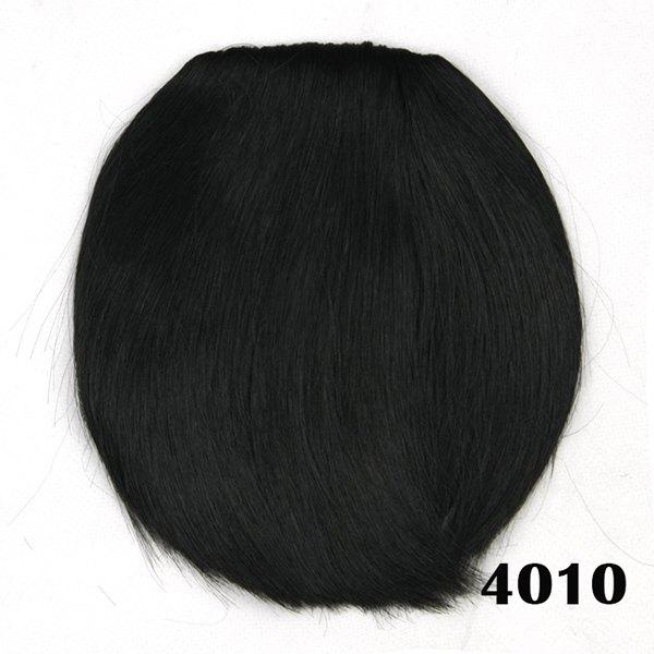Charming Dark Black Straight Short Heat Resistant Synthetic Neat Bang For Women trendy bob straight short natural black neat bang heat resistant synthetic capless wig for women