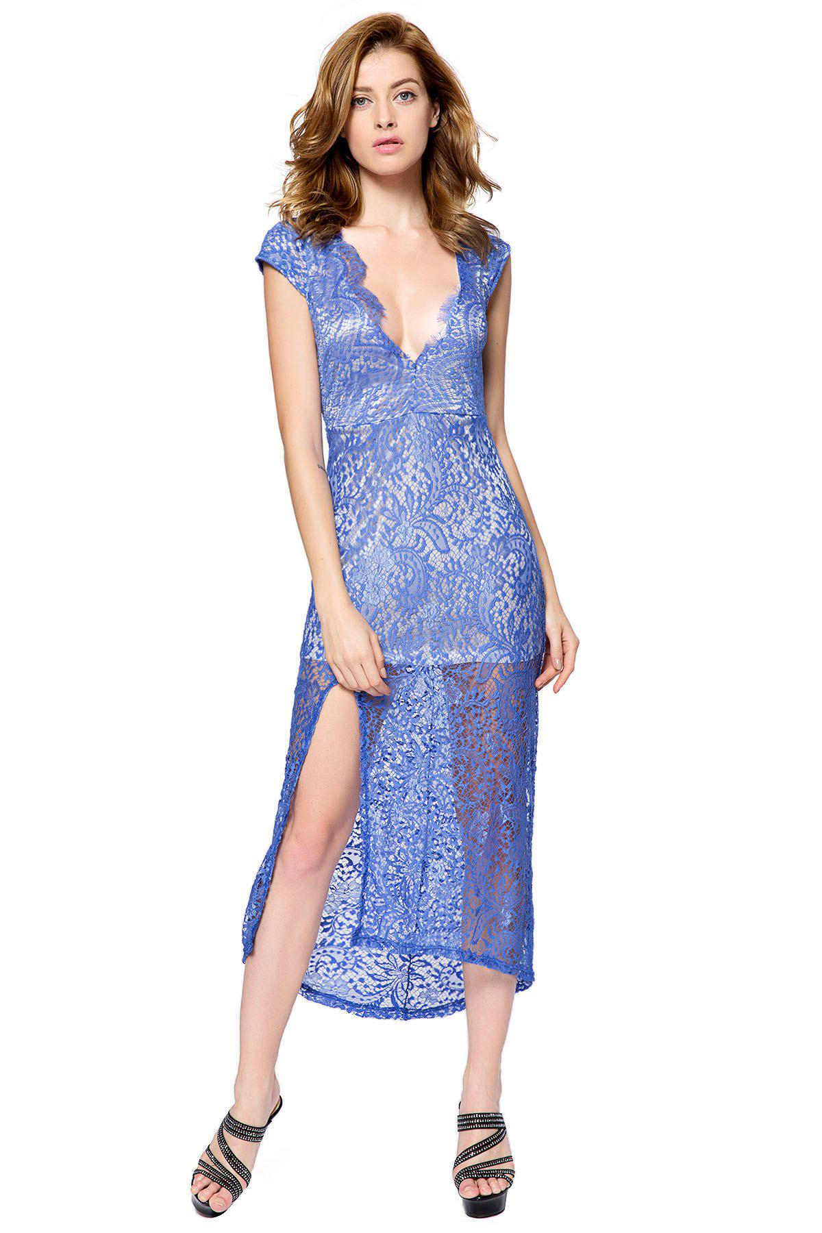 Sexy Plunging Neck Short Sleeve Spliced High-Furcal Backless Women's Dress - BLUE M