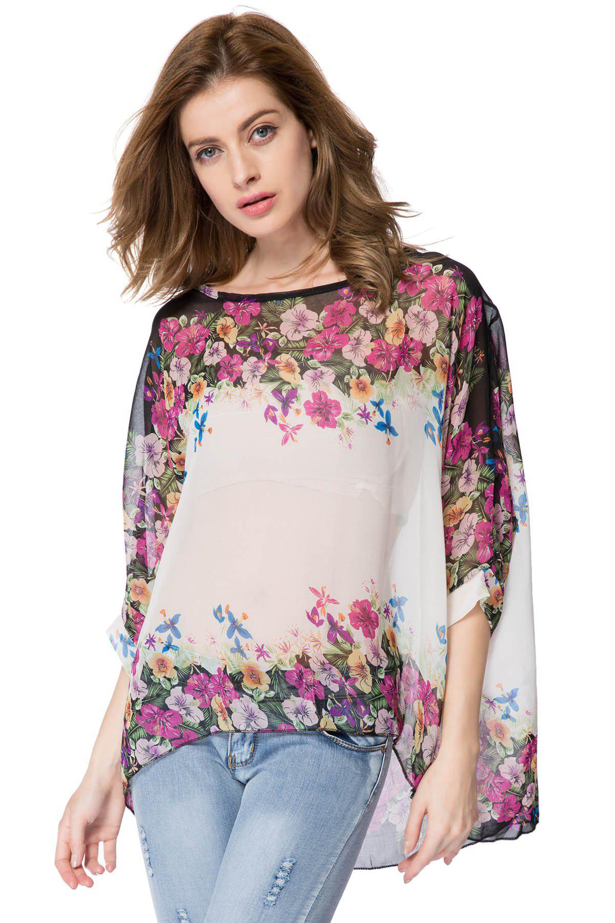 Bohemian Style Women Oversized Dolman Sleeve Floral Chiffon Tops Blouse - AS THE PICTURE L