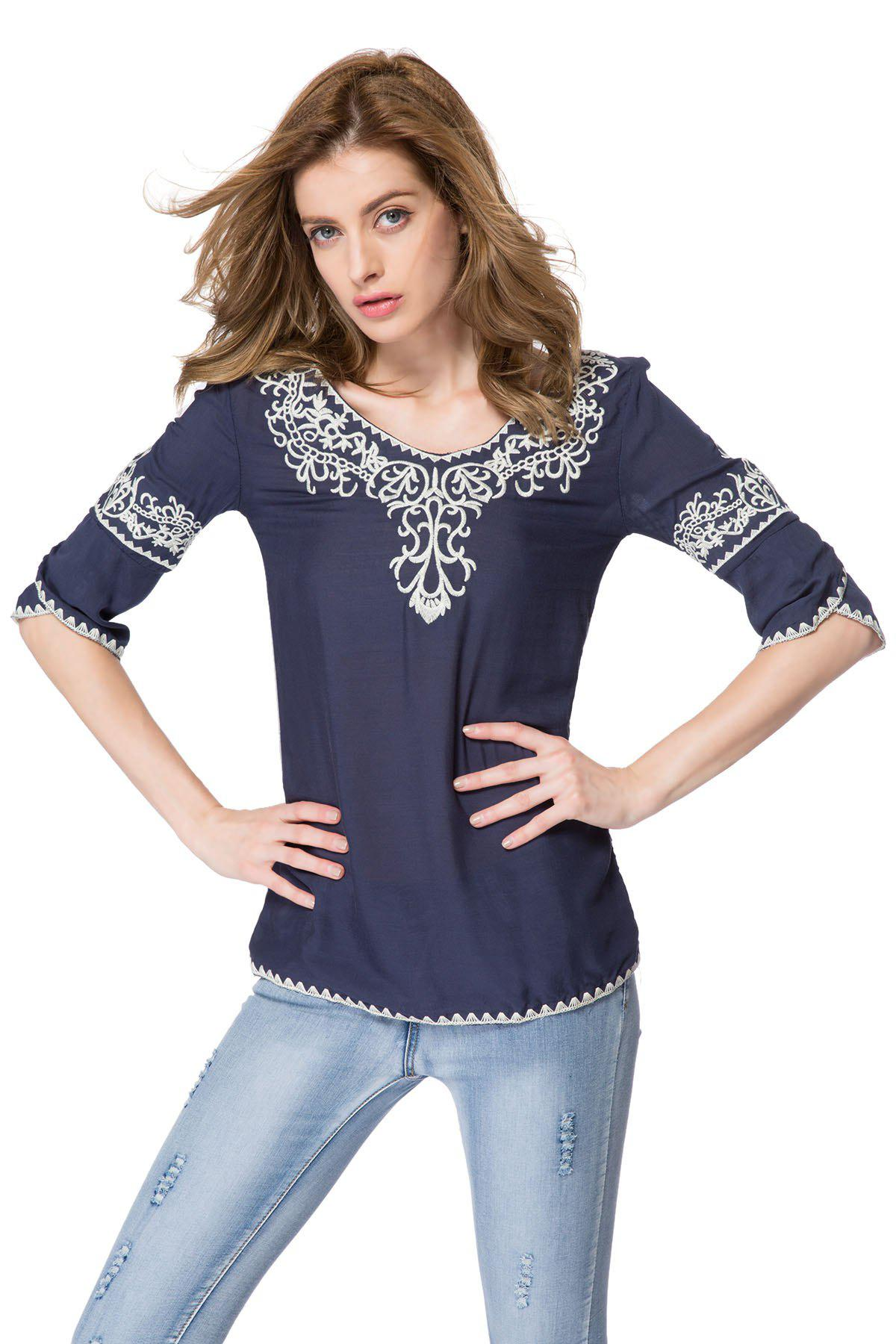 Women's Cotton Color Matching Ethnic Totem Pattern Embroidered Bordered Stylish Blouse - DEEP BLUE ONE SIZE