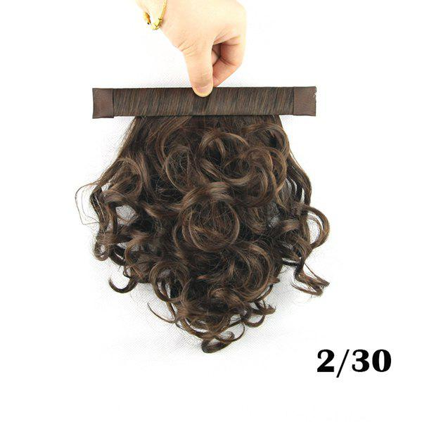 Cute Fluffy Light Brown Short Wave Heat Resistant Women's Synthetic Ponytail брюки