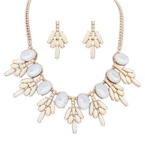 Simple Floral Alloy Women's Necklace and a Pair of Earrings - OFF WHITE