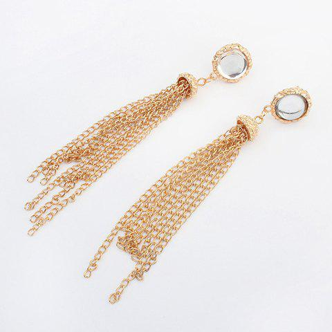 Pair of Characteristic Punk Style Acrylic Decorated Tassels Women's Earrings - GOLDEN