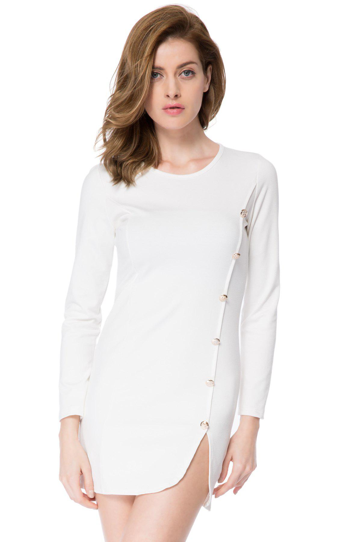 Solid Color Long Sleeve Round Collar Buttons Design Packet Buttock Dress - WHITE L