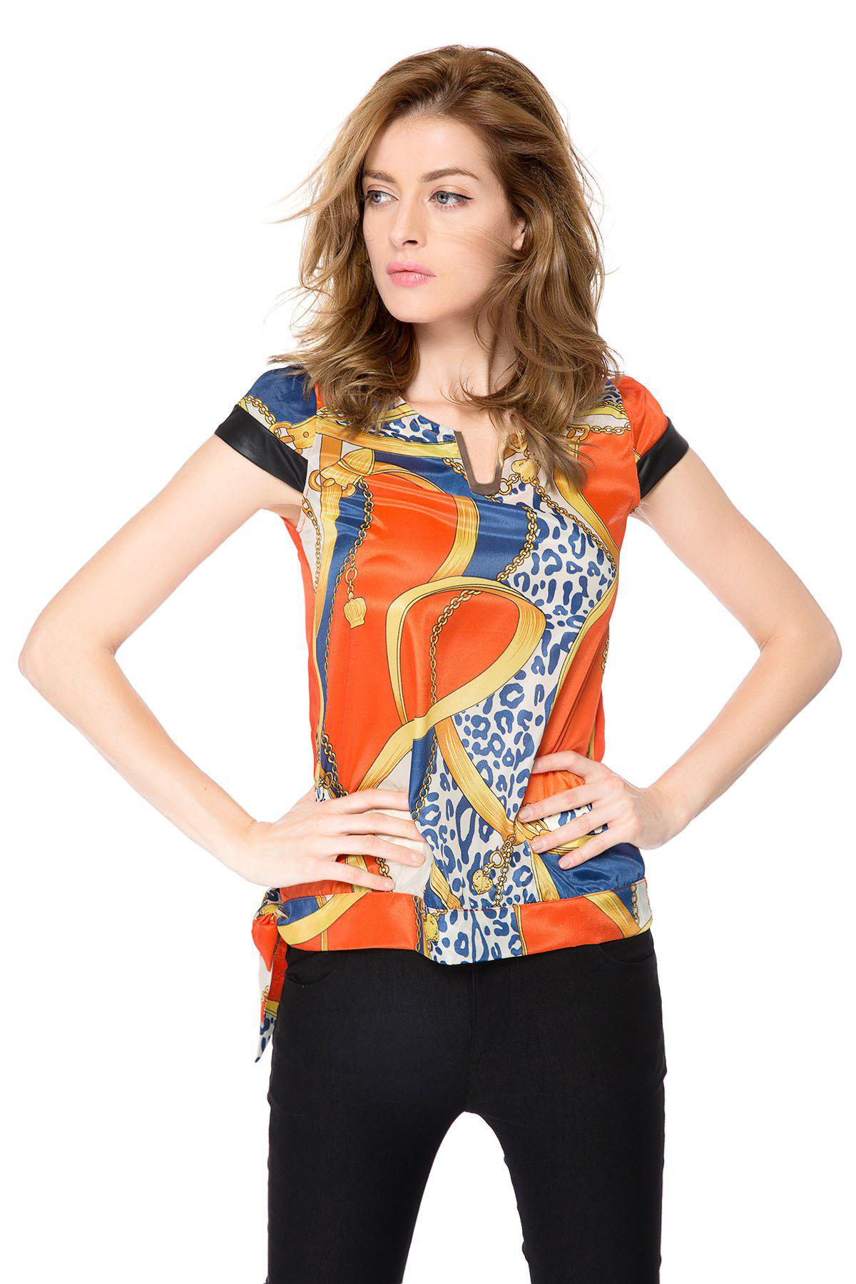 Women's Fashion Retro Printing Short Sleeve Chiffon Blouse - ORANGE L