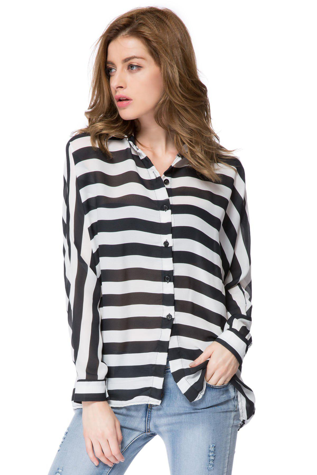 Stylish Shirt Collar Long Batwing Sleeve Striped Chiffon Loose-Fitting Women's Shirt - WHITE/BLACK ONE SIZE(FIT OUR SIZE)