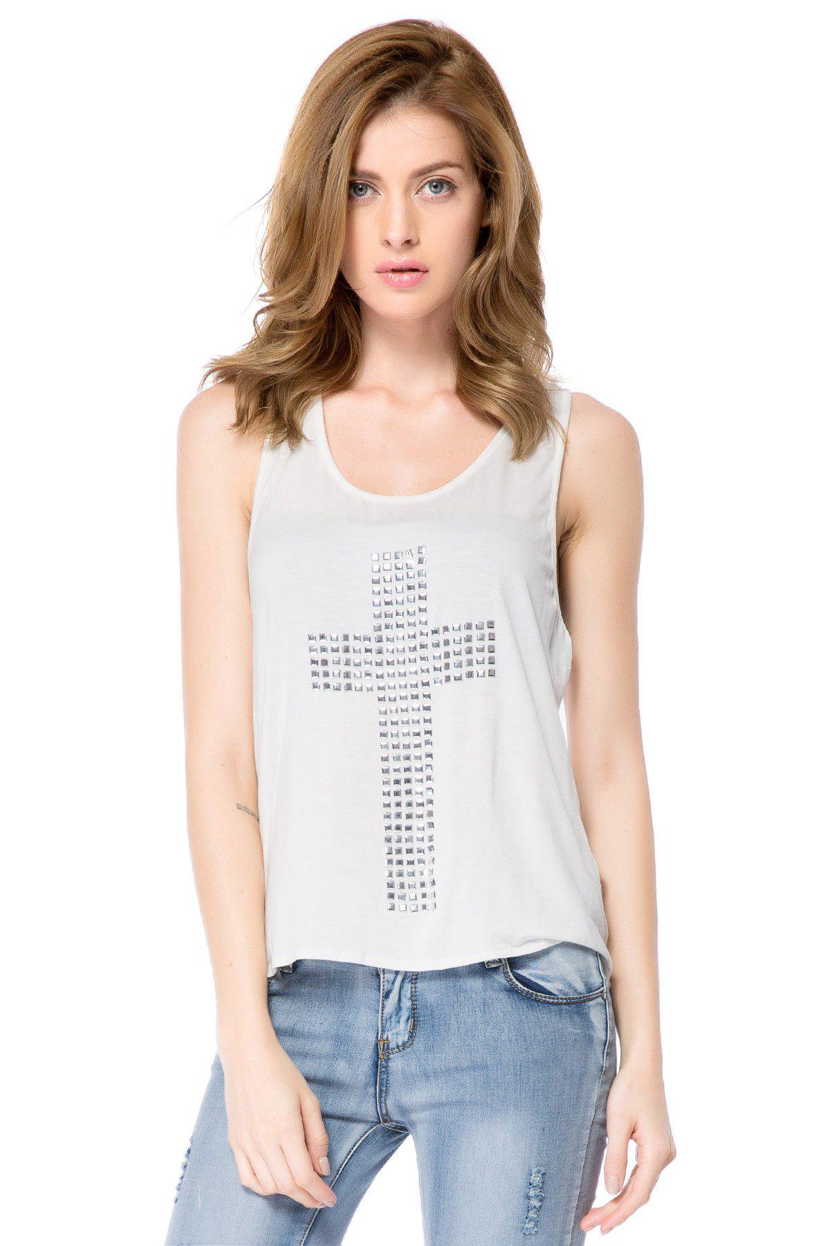 Stylish U Neck Rhinestones Cross Studded Tank Top For Women - WHITE XL