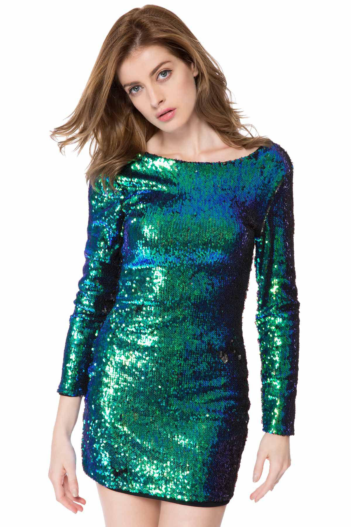 Gorgeous Scoop Collar Long Sleeve Full Sequins Backless Women's Bodycon Dress - GREEN 2XL