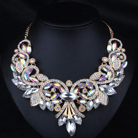 Diamante Rhinestone Floral Statement Necklace - WHITE