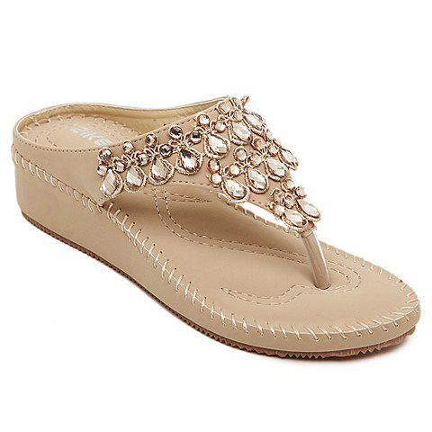 Fashionable Flip-Flop and Rhinestones Design Slippers For Women - APRICOT 39