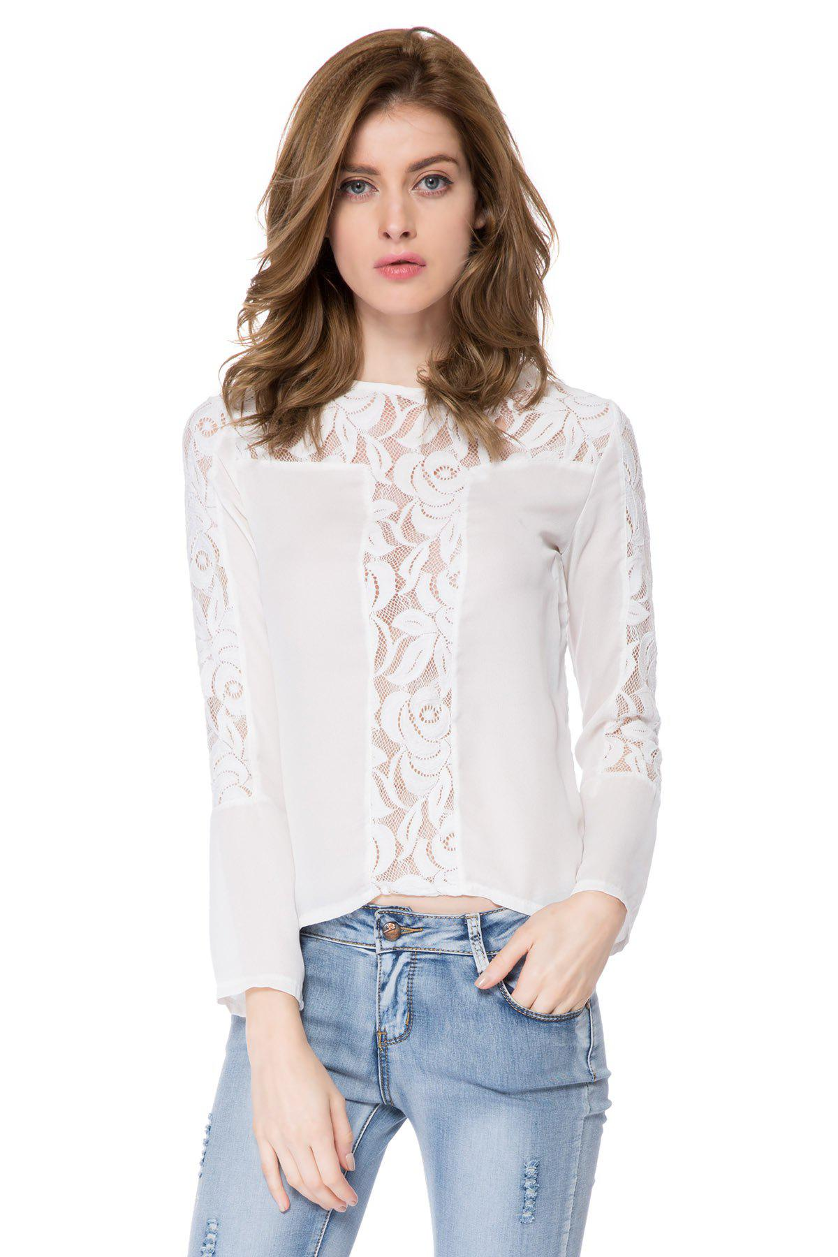 Fashionable Round Neck Long Sleeve Solid Color Spliced Women's Blouse - WHITE S