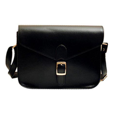 Retro Solid Color and Buckle Design Crossbody Bag For Women - BLACK