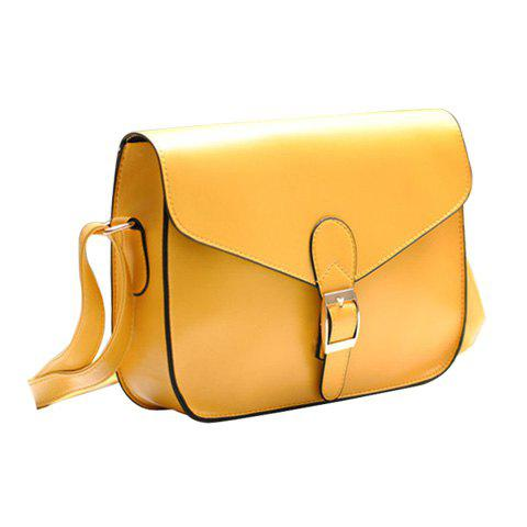Retro Solid Color and Buckle Design Crossbody Bag For Women - YELLOW